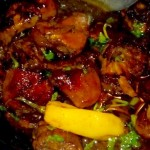 Chicken in hoisin and wine sauce with ever-present yellow pepper