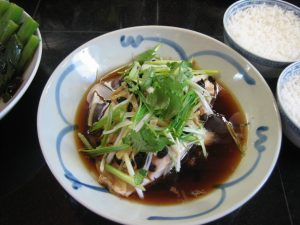 Chinese steamed fish and rice